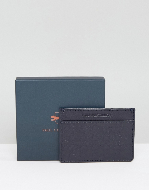 Paul Costelloe Leather Card Holder Textured Navy Accessorie