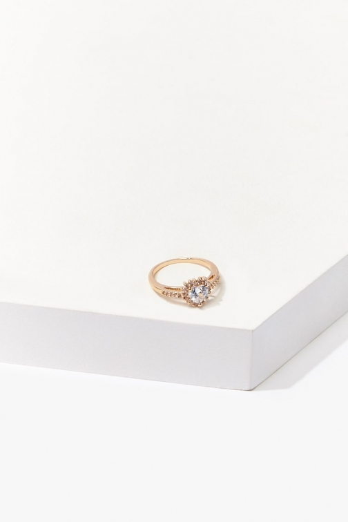 Forever21 Forever 21 CZ Stone Heart , Gold/clear Ring