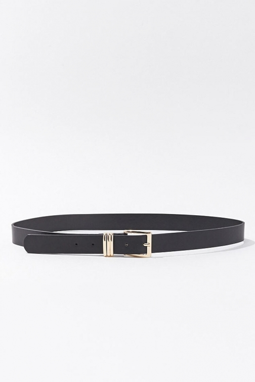 Forever21 Forever 21 Square Buckle Faux Leather , Black/gold Belt