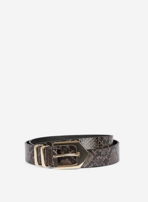 Dorothy Perkins Charcoal Snake Print Double Keeper Belt