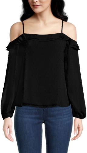Ann Taylor Factory Petite Dotted Ruffle Cold Shoulder Blouse