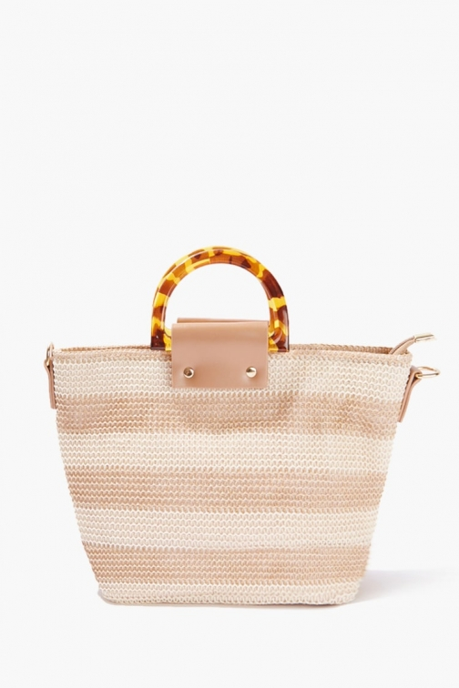 Forever21 Striped Straw Bag At Forever 21 , Beige/taupe Tote