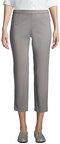 Lands' End Women's Mid Rise Pull On Crop Pants - Lands' End - Gray - 2 Chino