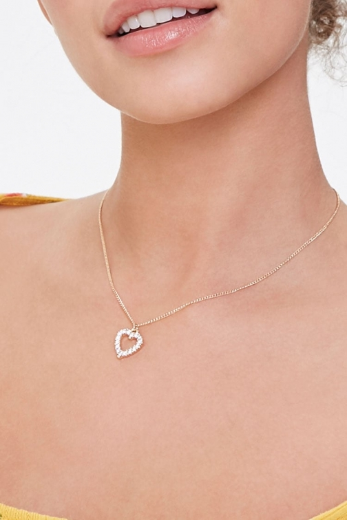 Forever21 Forever 21 Rhinestone Heart , Gold/clear Necklace