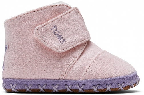 Toms Pink Microsuede Star Applique Tiny TOMS Cuna Crib Shoes