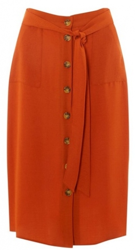 Dorothy Perkins Womens Rust Button Through - Red, Red Midi Skirt