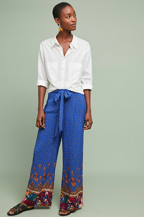 Anthropologie Printed Wide-Leg Trousers - Assorted, Size Uk Wide Leg Trouser