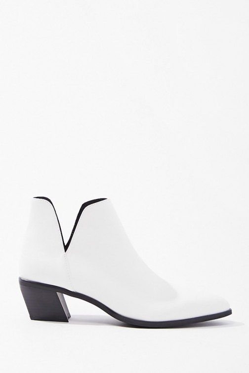 Forever21 Forever 21 Notched Faux Leather Booties , White Boot