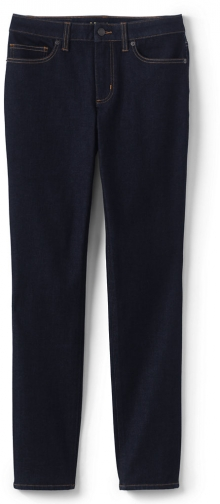 Lands' End Women's 360 Stretch Mid Rise - Blue - Lands' End - Blue - 4 30 Straight Leg Jeans