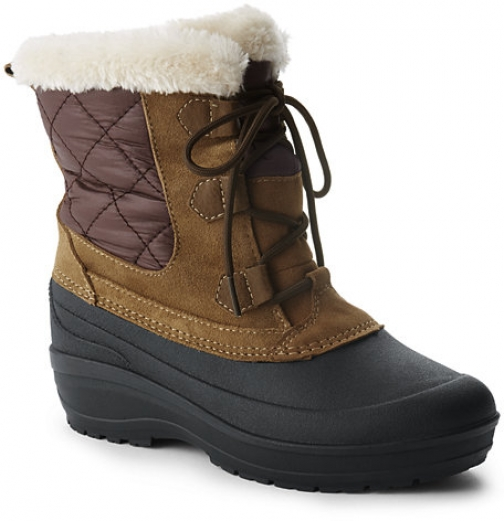 Lands' End Women's Nylon Lace Up Insulated Winter - Lands' End - Brown - 6 Snow Boot