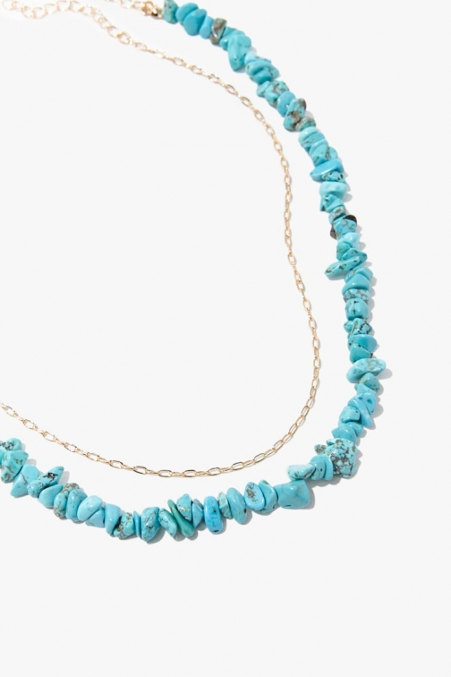 Forever21 Forever 21 Faux Stone & Chain Necklace Set , Turquoise/gold Jewellery