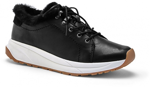 Lands' End Women's Comfort Cozy Suede Leather Sneakers - Lands' End - Black - 7 Trainer