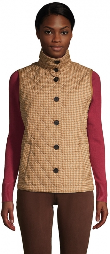 Lands' End Women's Insulated Packable Quilted Barn Vest Print - Lands' End - Tan - S Top