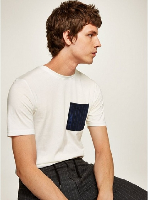 Only & Sons Mens ONLY & SONS White Pocket , White T-Shirt