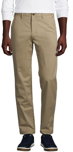 Lands' End Men's Stretch Straight Fit Flannel Lined Knockabout Pants - Lands' End - Tan - 30 Chino