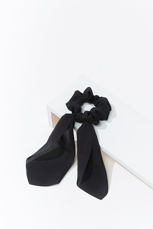 Forever21 Forever 21 Ruffled Bow Scrunchie , Black Headwear