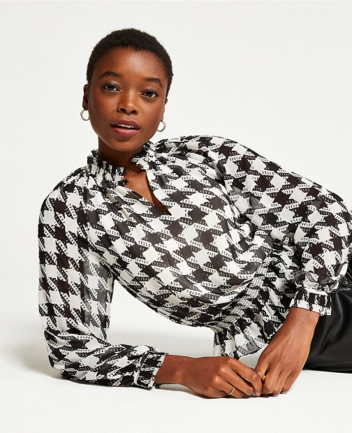 Ann Taylor Petite Houndstooth Pleated Smocked Waist Top Shirt