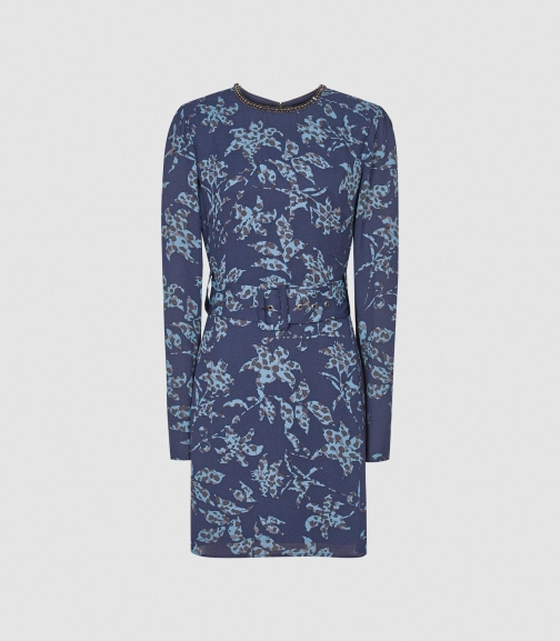Reiss Melody - Printed With Embellishment Detail Blue, Womens, Size 4 Dress