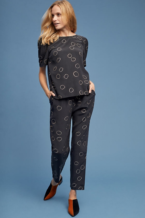 Selected Femme Hope Printed-Silk Trousers Trouser