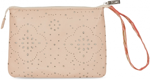 Toms TOMS Brown Vachetta Pattern Embossed Jetset Pouch Bag Pouch