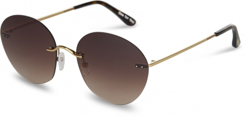 Toms Clara Shiny Gold Dark Brown With Brown Gradient Lens Sunglasses