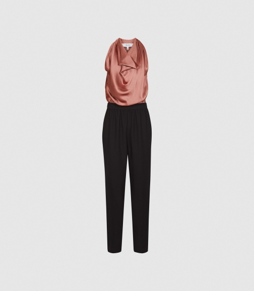 Reiss Harley - Drape Detail Black/pink, Womens, Size 4 Jumpsuit