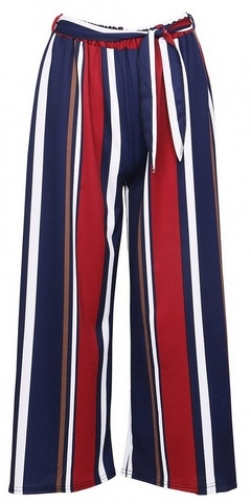 Izabel London Navy Striped Cropped Trouser
