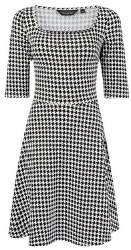 Dorothy Perkins Black Dogstooth Print Square Neck Dress