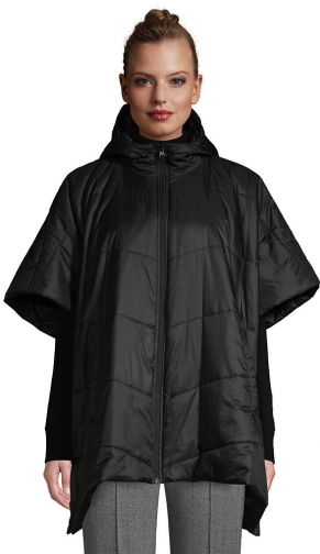 Lands' End Women's Insulated Quilted Packable Hooded - Lands' End - Black - S-M Cape