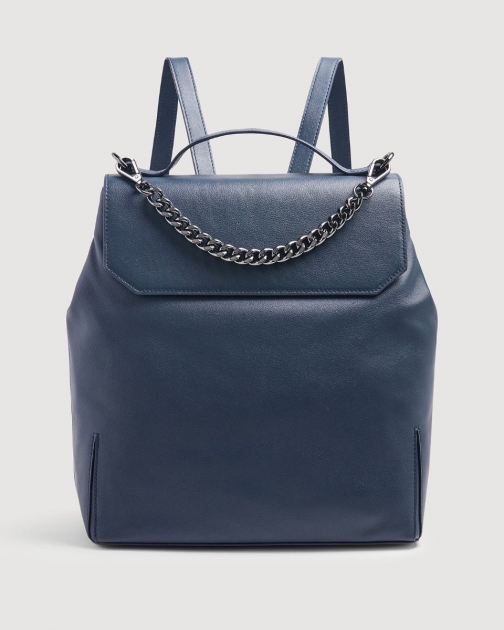 7 For All Mankind Womens Leather Navy Size: O/S Backpack