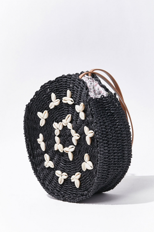 Forever21 Forever 21 Cowrie Shell Straw Bag , Black Tote
