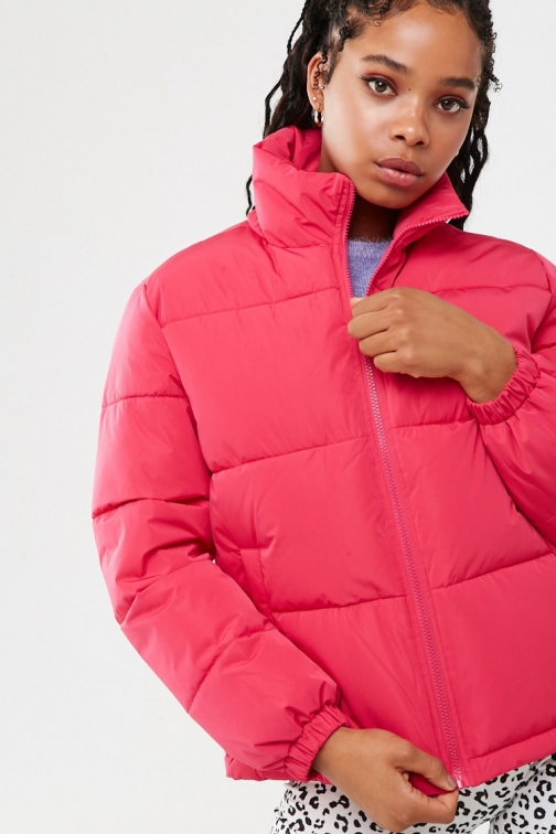 Forever21 Forever 21 Zip-Up , Hot Pink Puffer Jacket