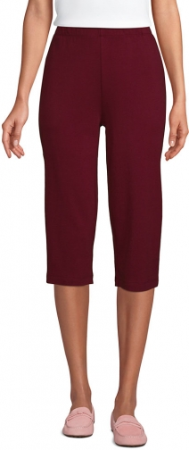 Lands' End Women's Sport Knit High Rise Elastic Waist Pull On Capri Pants - Lands' End - Red - XS Trouser
