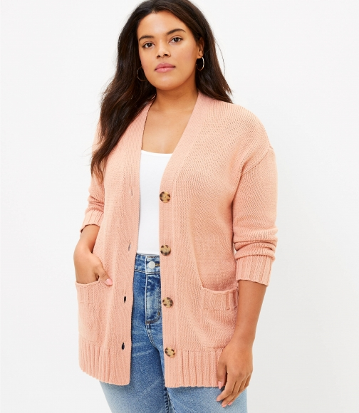 Loft Plus Relaxed V-Neck Cardigan