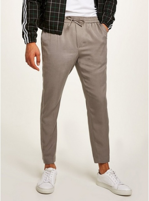 Topman Mens Grey Tencel Smart Joggers With White Side Piping, Grey Athletic Pant