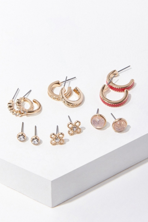 Forever21 Forever 21 Assorted Stud & Hoop Earring Set , Gold/red Jewellery