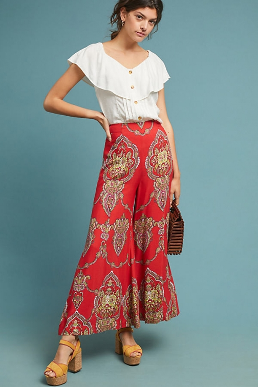 Anthropologie Bia Printed Wide-Leg Trousers - Assorted, Size Uk Wide Leg Trouser