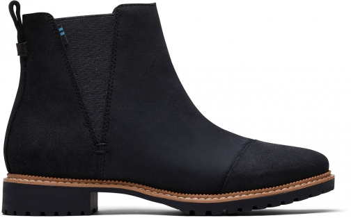 Toms Water Resistant Black Leather Women's Cleo Boot