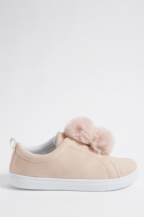 Forever21 Forever 21 Faux Leather Low-Top Pom Pom Sneakers Pink Trainer