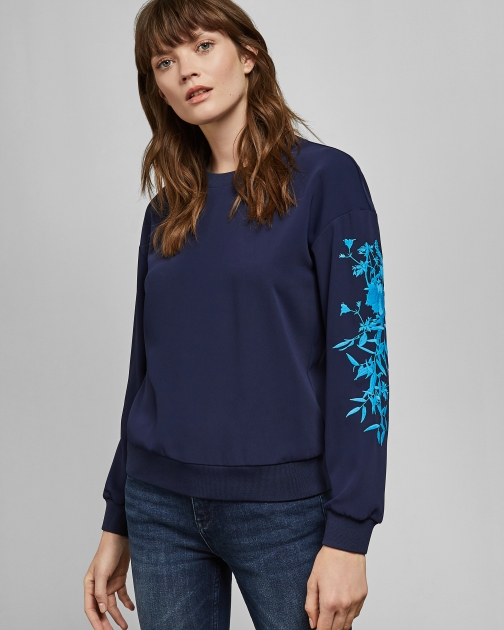 Ted Baker Bluebell Embroidered Sweater Sweatshirt
