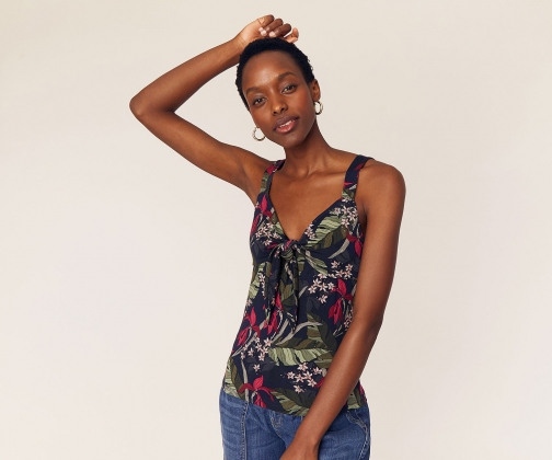 Oasis Tropical Knot Front Cami Top