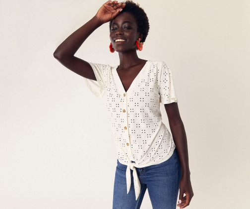 Oasis Broderie Button Tie Top