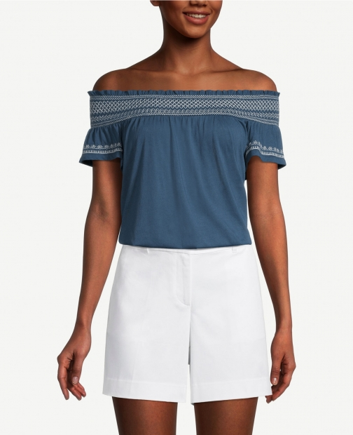 Ann Taylor Factory Petite Smocked Off The Shoulder Top