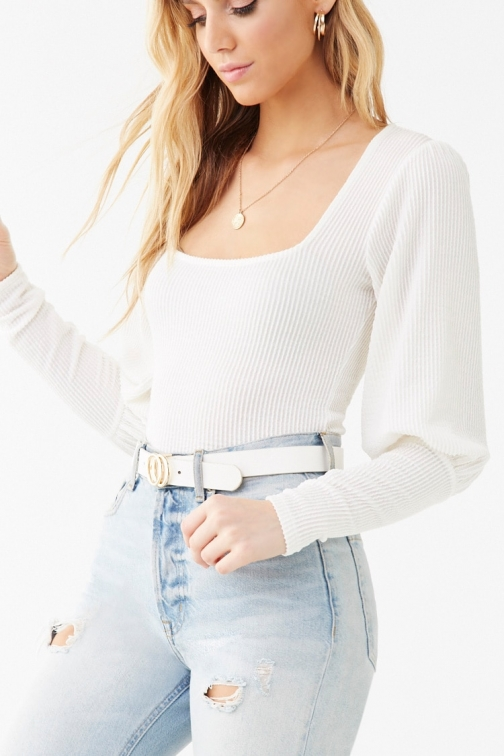 Forever21 Forever 21 Ribbed Balloon-Sleeve , Ivory Top