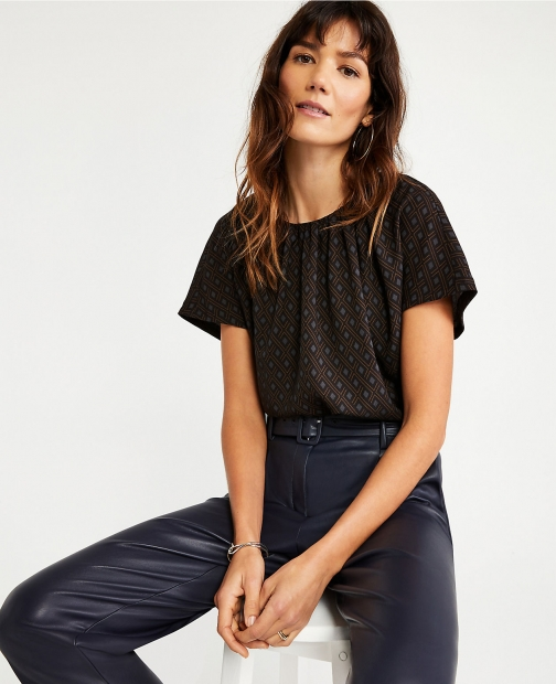 Ann Taylor Petite Geo Shirred Neck Tee T-Shirt