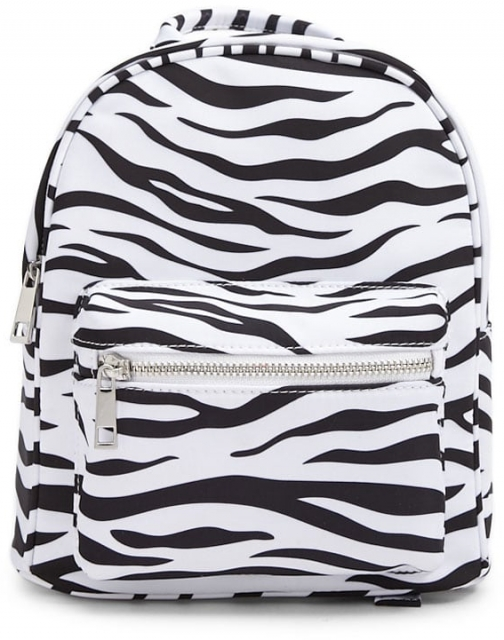 Forever21 Forever 21 Zebra Print , White/black Backpack