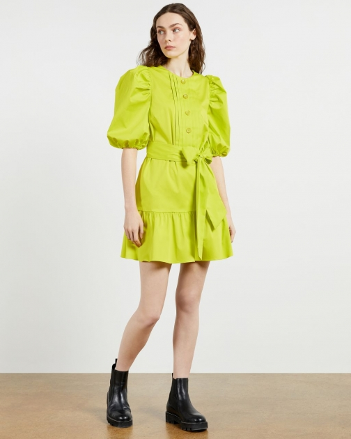 Ted Baker Button Front Long Sleeve Mini Dress