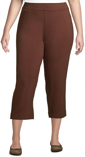 Lands' End Women's Plus Size Starfish Mid Rise Elastic Waist Pull On Crop Pants - Lands' End - Brown - 1X Trouser