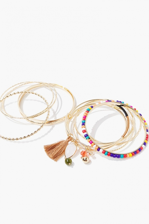Forever21 Forever 21 Beaded Bangle Set , Gold/multi Bracelet