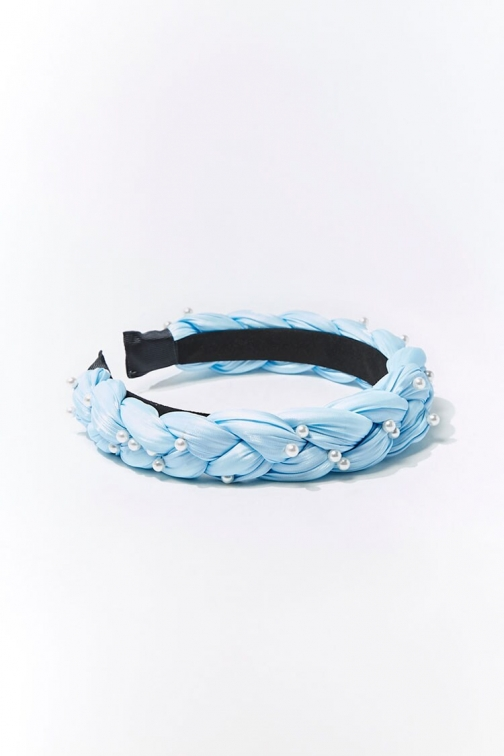 Forever21 Forever 21 Braided Faux Pearl Headband , Light Blue/cream Headwear